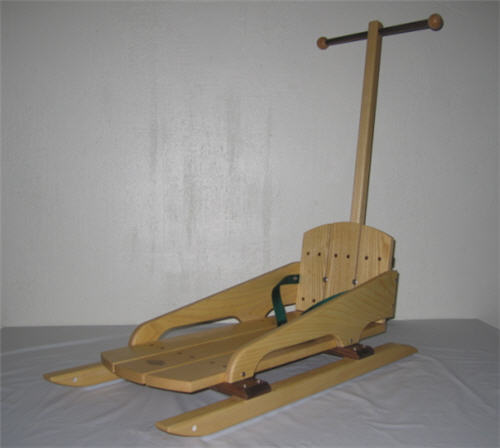 The original New England Baby Bogg'n wooden baby sled with optional handle