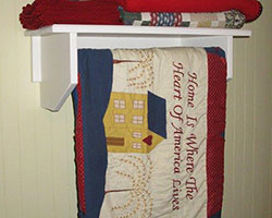 closet rod shelf for a hanging quilt rack