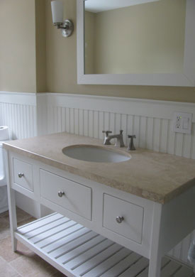 "48"" white open style bathroom vanity with a marble top"