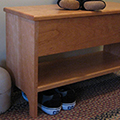 Shaker storage bench with shelf