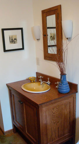 "38"" oak vanity in Nutmeg stain"
