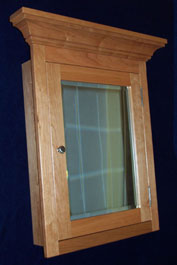 cherry medicine cabinet with paneled door