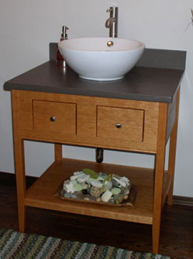 open vanity with two functional drawers