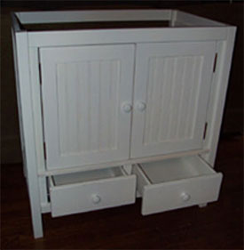 "32"" snow white vanity with cottage styled doors"